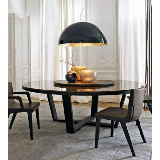 Круглый кухонный стол D160 натуральный камень + металл