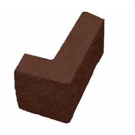 Блок декоративний кутовий колотий 390х190 мм коричневий