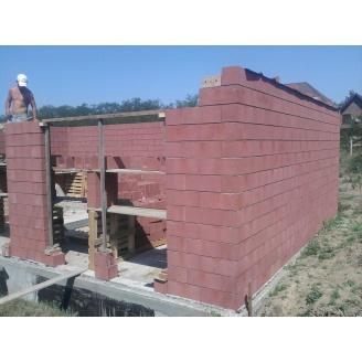 Стеновой бетонный блок Новоблок 500х250х190 мм красный