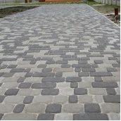 Тротуарная плитка Золотой Мандарин Старый город 120х60 мм на сером цементе черный