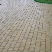 Тротуарная плитка Золотой Мандарин Старый город 120х80 мм на сером цементе горчичный