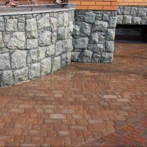 Тротуарна плитка Золотий Мандарин Старе місто 120х60 мм на сірому цементі персиковий