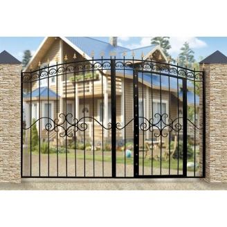 Кованые ворота с встроенной калиткой 1201 3500х2000 мм черные