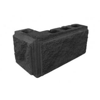 Блок декоративный рваный камень угловой с фаской 390х190х90х190 мм темно-серый