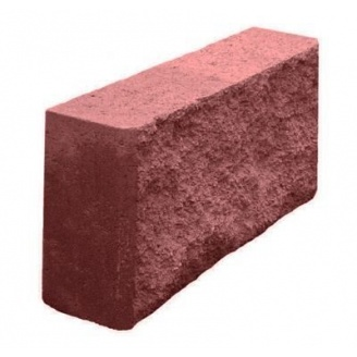 Блок декоративный рваный камень для забора 390х90х190 мм красный