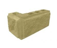 Блок декоративный рваный камень угловой с фаской 390x190x90x190 мм желтый