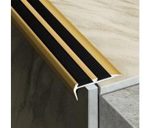Профиль противоскользящий лестничный АС39В алюминиевый 3 м золото