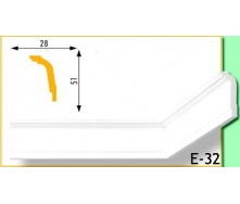 Плинтус потолочный Marbet Е32 28х51 мм 2 м белый