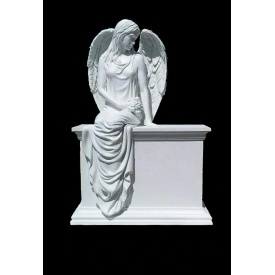 Скульптура из мрамора Ангел на тумбе 1650х1100х750 мм