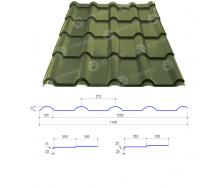Металлочерепица Сталекс AFINA 350/20 0,45 мм РЕMA Китай (Sutor Steel) (RAL6020/хромово-зеленый)