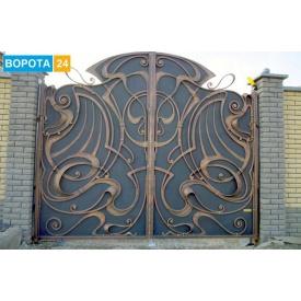 Въездные кованые ворота патинированные 4000х2200 мм