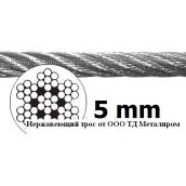 Трос нержавеющий А4 7х7 5,0 мм