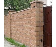 Блок декоративный для столба Золотой Мандарин М-200 двухсторонний скол 400х400х150 мм персиковый