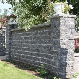 Камень для забора Золотой Мандарин двухсторонний скол 350х180х150 мм серый