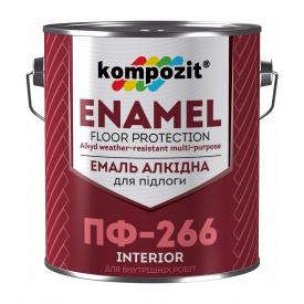 Емаль для підлоги Kompozit ПФ-266 0,9 кг жовто-коричневый