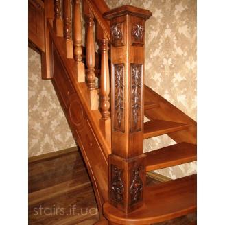 Изготовление элитной деревянной лестницы на тетивах из бука