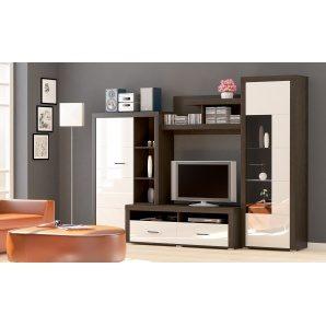 Вітальня Меблі-Сервіс Неон-1 3000х590х2180 мм венге темний/белый