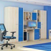 Стінка Меблі-Сервіс Денді 3100х1950х540 мм береза/синій