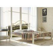 Двоспальне ліжко Метал-Дизайн Діана 1900х1400 мм біла на дерев'яних ніжках
