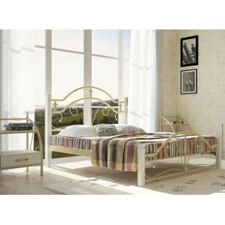 Двуспальная кровать Металл-Дизайн Диана 1900х1400 мм белая на деревянных ножках