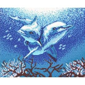 Картина зі скляної мозаїки Пара дельфінів 1710x1400 мм