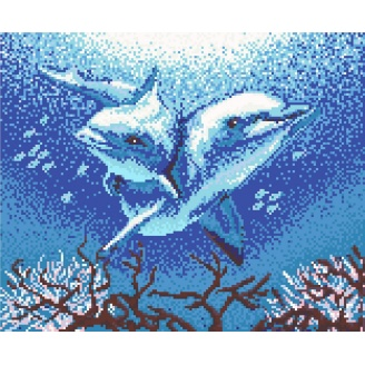 Картина из стеклянной мозаики Пара дельфинов 1710x1400 мм