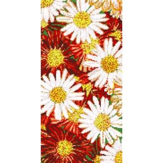 Декоративное панно из стеклянной мозаики Ромашки 1000х2000 мм