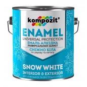 Эмаль алкидная универсальная Kompozit матовая 0,9 л снежно-белый