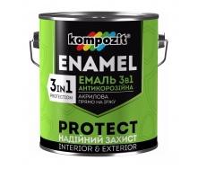 Эмаль антикоррозионная Kompozit 3 в 1 шелковисто-матовая 0,75 кг зеленый