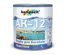 Краска для бассейнов Kompozit АК-12 полуматовая 2,8 л голубой