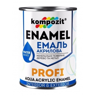 Эмаль акриловая Kompozit PROFI А шелковисто-матовая 0,8 л белый