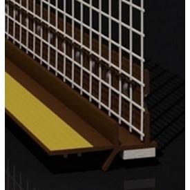 Профиль оконный примыкающий с манжетой и сеткой 6 мм коричневый