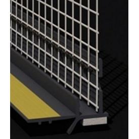Профиль оконный примыкающий с манжетой и сеткой 6 мм серый графит