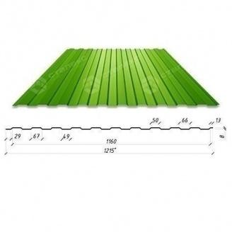 Профнастил Сталекс С-6 1215/1160 мм 0,4 мм PE Китай (RAL6002/зеленый лист)