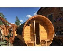 Баня-бочка деревянная круглая 2,4x4,5 м
