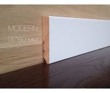Плинтус Евро модерн деревянный 60 мм белый