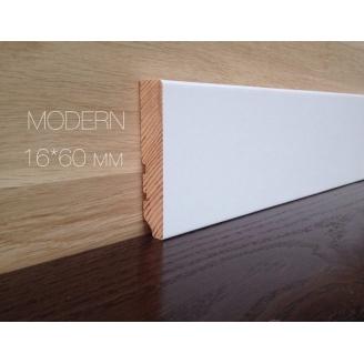 Плінтус Євро модерн дерев'яний 60 мм білий