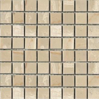 Мозаика мраморная матовая MOZ DE LUX STONE C-MOS TRAVERTINE LUANA POL 15х15х10 мм