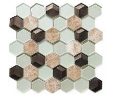 Мозаика мрамор стекло VIVACER SB06, 4,8х5,5 cм