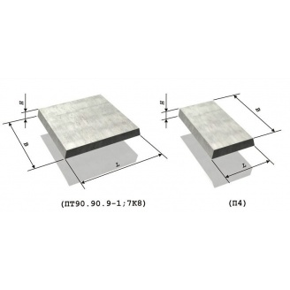 Плита тротуарная железобетонная 5П.7-И 0,5х0,75 м