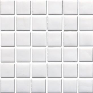 Мозаика стеклянная белая глянцевая на бумаге Eco-mosaic NA 101 327x327 мм