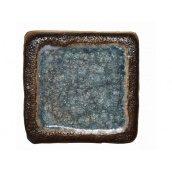 Шамотна плитка зі склом 95х95 мм блакитна