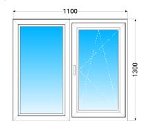 Окно из двух частей OPEN TECK Standard 60 с однокамерным стеклопакетом 1100x1300 мм
