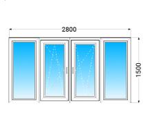 Лоджия OPEN TECK Standard 60 с двухкамерным энергосберегающим стеклопакетом 2800x1500 мм