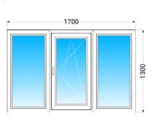 Окно из трех частей KBE 58 с двухкамерным энергосберегающим стеклопакетом 1700x1300 мм