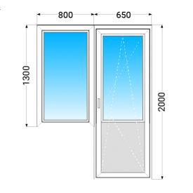 Балконный блок KBE 58 с двухкамерным энергосберегающим стеклопакетом 800x1300 мм