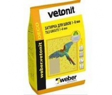 Цементная затирка для швов weber.vetonit DECO 1-8 мм 0,5 кг/м2 2 кг 25 LEMON