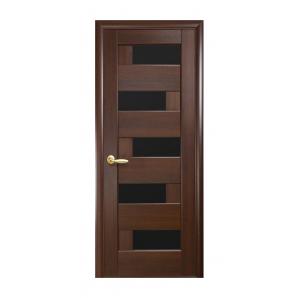 Двері міжкімнатні Новий Стиль НОСТРА Піана з чорним склом 800х2000 мм каштан