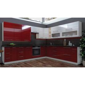 Кухня угловая МДФ Красно-белый глянец на заказ индивидуальный гарнитур №2