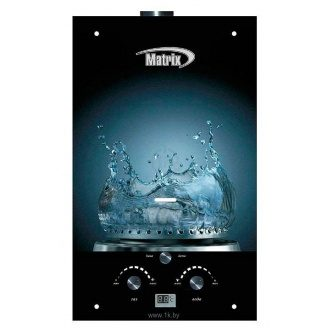 Газовий проточний водонагрівач Martix 20 кВт 10 л/хв принт вода скло